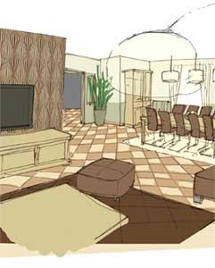 Aménagement séjour salon en L consulting mission of living space