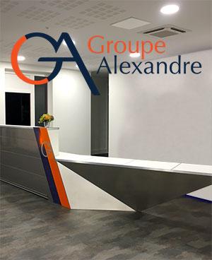 Logo et mobilier Groupe Alexandre